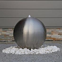 48cm großer Edelstahl Kugel Springbrunnen ESB5 gebürstet Kugelbrunnen mit LED Beleuchtung -