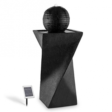 Blumfeldt Schönbrunn Springbrunnen Gartenbrunnen (2 Watt Solarpanel, LED-Beleuchtung, Pumpe mit 200 Liter/h Durchfluss, witterungsbeständig) schwarz -
