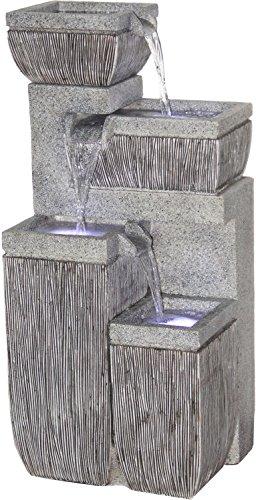 dobar Großer Design Garten-Brunnen mit Pumpe und LED´s, Polyresin, grau, 38.7 x 32.3 x 80.3 cm, 96130e -