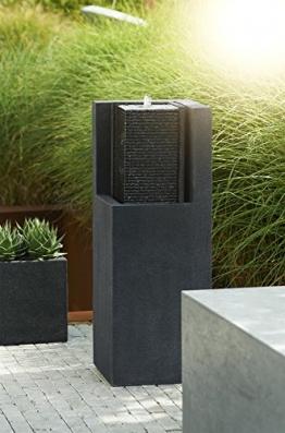 Esteras 8512117387 Brunnen für den Garten, 32 x 32 x 87 cm, Fiberglas, Schwarz, Apuro -