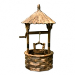 Gartenbrunnen aus Holz mit Dach, braun, Höhe 120cm, Durchmesser 65cm, geölt und brandbehandelt -