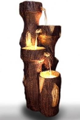 """Gartenbrunnen """"Baumstamm"""" 120 cm mit LED Beleuchtung Springbrunnen Brunnen NEU -"""