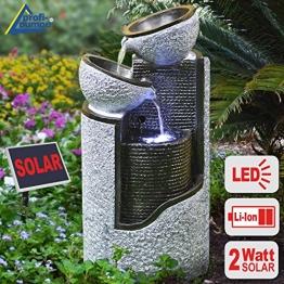 """GARTENBRUNNEN BRUNNEN Solar BRUNNEN ZIERBRUNNEN VOGELBAD WASSERFALL GARTENLEUCHTE TEICHPUMPE - SPRINGBRUNNEN WASSERSPIEL für Garten, Gartenteich, Terrasse, Teich, Balkon, sehr DEKORATIV, VERBESSERTES MODELL MIT PUMPEN-INSTANT-START-FUNKTION SOLARTEICHDEKORATION, GARTENDEKO, LED-Solar-Set Wasserbrunnen """"GRANIT-SÄULE & SCHALEN"""" mit LiIon-Akku & LED-Licht GARTENLEUCHTE STEHLAMPE -"""