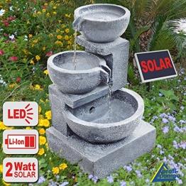 """GARTENBRUNNEN BRUNNEN Solar BRUNNEN ZIERBRUNNEN VOGELBAD WASSERFALL GARTENLEUCHTE TEICHPUMPE - SPRINGBRUNNEN WASSERSPIEL für Garten, Gartenteich, Terrasse, Teich, Balkon, sehr DEKORATIV, VERBESSERTES MODELL MIT PUMPEN-INSTANT-START-FUNKTION SOLARTEICHDEKORATION, GARTENDEKO, LED-Solar-Set Wasserbrunnen """"GRANITSCHALEN-KASKADE-2"""" mit LiIon-Accu und LED-Beleuchtung GARTENLEUCHTE STEHLAMPE -"""