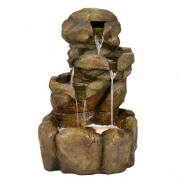 Gartenbrunnen Wasserbrunnen Steinoptik Wasserfall mit Beleuchtung -