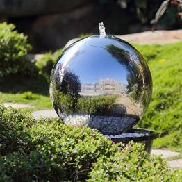 Köhko 50 cm Kugelbrunnen hochglanz poliert 21005 aus Edelstahl mit LED-Beleuchtung -