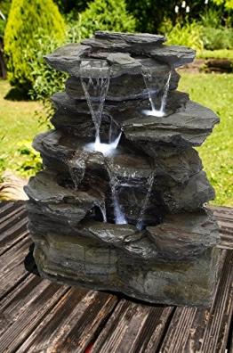 """Köhko Springbrunnen """"Greifensteine"""" Gartenbrunnen in Naturstein-Optik mit LED-Beleuchtung -"""