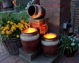 Springbrunnen Krüge mit LED-Beleuchtung Gartenbrunnen Kaskade -