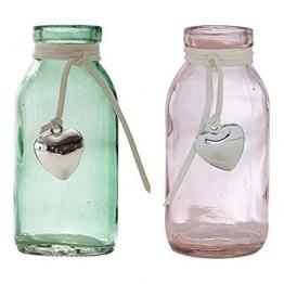 12 x Glasfläschchen mit Herzanhänger H 10,5 Vasen Tischvasen Dekoflaschen -