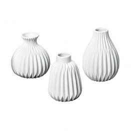 3er-Set Vasen 'Esko' Porzellan weiß -