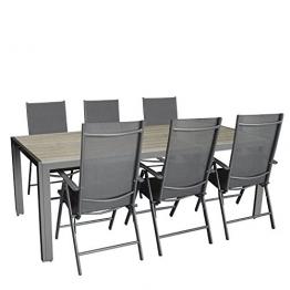 7tlg. Gartengarnitur, Aluminium Gartentisch mit Polywood-Tischplatte Grau 205x90cm + 6x Aluminium-Hochlehner mit Textilenbespannung, 7-fach verstellbar, klappbar, anthrazit / Sitzgruppe Sitzgarnitur Gartenmöbel Terrassenmöbel -