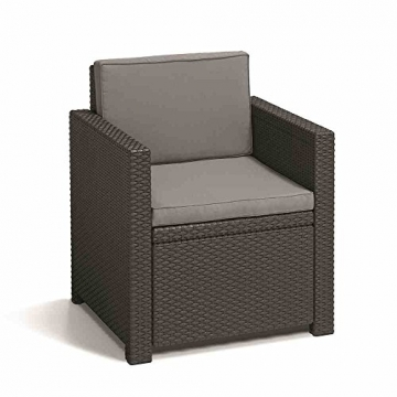 Allibert Lounge Set Garten, Monaco, Grau, 4-teiliges Lounge Set Balkon, robustes Lounge Set in Rattanoptik -