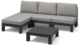 Allibert Lounge Set Garten, Nevada, Grau, 5-teiligess Lounge Set Rattan, bequeme Lounge Balkonmöbel -