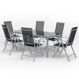 Alu Sitzgarnitur Gartenmöbel Set 7-teilig Garnitur Sitzgruppe 1 Tisch 190x87 + 6 Stühle -