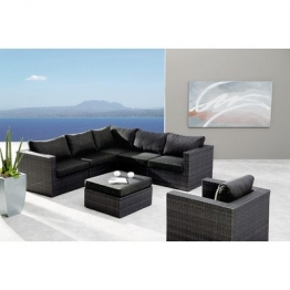 BEST 98896053 Loungegruppe 6-teilig Lounge-Set Aruba, anthrazit / grau -