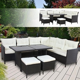 BOSTON Poly Rattan Gartenmöbel Schwarz Gartenset Lounge Sitzgruppe Gartengarnitur -