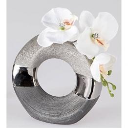 Deko Vase LUXOR rund D. ca. 18cm silber grau Keramik Formano -