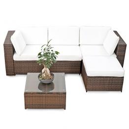 erweiterbares 15tlg. Balkon Polyrattan Lounge Ecke - braun - Sitzgruppe Garnitur Gartenmöbel Lounge Möbel Set aus Polyrattan - inkl. Lounge Sessel + Ecke + Hocker + Tisch + Kissen -
