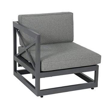 greemotion Gartenmöbel-Set Alu Costa Rica - Gartenlounge aus Aluminium mit Auflagen in Grau & 3 Deko-Kissen - Loungeset inkl. 2 x 2-Sitzer, Ecksessel mit Liege-Funktion & Tisch für Outdoor & Indoor -