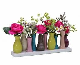 Keramikvasenset Blumenvase Keramikvasen bunt / weiß Vase Blumen Pflanzen Keramik Set Deko Dekoration (10 Vasen, bunt) -
