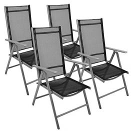 Nexos 4-er Set Stuhl, Klappstuhl, Gartenstuhl, Hochlehner für Terrasse, Balkon, Camping Festival, aus Aluminium verstellbar leicht, stabil, schwarz -