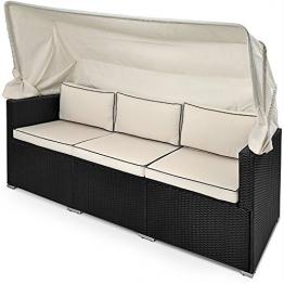 Poly Rattan Liege mit faltbarem Sonnendach und 7cm dicken Sitzauflagen Lounge Gartenliege Gartenlounge Sitzbank Strandkorb Sonnenschutz überdacht -