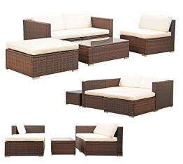 POLY RATTAN Lounge Gartenset BRAUN Sofa Garnitur Polyrattan Gartenmöbel Neu -