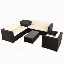 POLY RATTAN Lounge Gartenset Schwarz Sofa Garnitur Polyrattan Gartenmöbel inkl. Kissenbox -