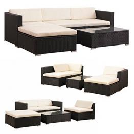 POLY RATTAN Lounge Gartenset SCHWARZ Sofa Garnitur Polyrattan Gartenmöbel Neu -