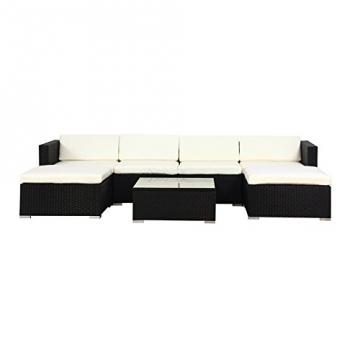 POLY RATTAN Lounge Gartenset Sofa Garnitur Polyrattan Gartenmöbel (XL, Schwarz) -
