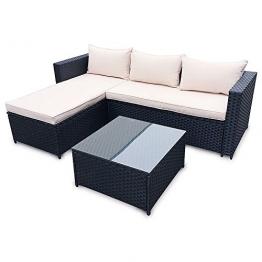 POLY RATTAN Set Gartenmöbel Rattan-Lounge Gartenset BRAUN oder SCHWARZ Sofa Garnitur Couch-Eck (Schwarz) -