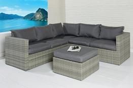 POLY RATTAN Sitzgruppe Sofa Lounge Set grau Gartenmöbel Terrassen Garten Gruppe -