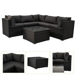 Polyrattan Gartenmöbel Lounge Sitzgruppe Nassau mit Bezügen in Dunkelgrau -