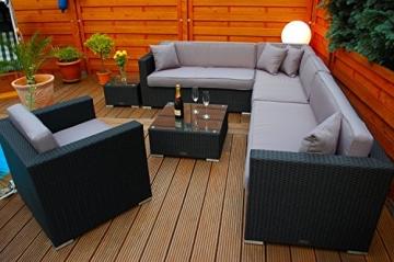 PolyRattan Lounge DEUTSCHE MARKE -- EIGNENE PRODUKTION -- 7 Jahre GARANTIE Garten Möbel incl. Glas und Polster Ragnarök-Möbeldesign (schwarz) Gartenmöbel -