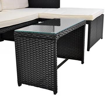Rattan Sitzecke mit Tisch Poly Rattan Garnitur Sitzgruppe Gartenmöbel Terrasse schwarz -