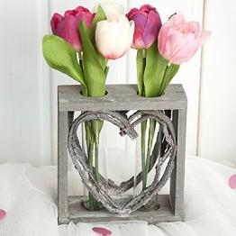 Reagenzglas-Vase im Holzständer 15 cm Herz Shabby Röhrchenduo -