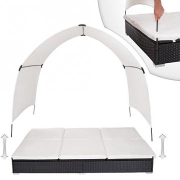 TecTake Alu Sonnenliege Poly Rattan Gartenliege Loungeliege Gartenlounge Doppelliege mit Dach 2 Personen - schwarz - -