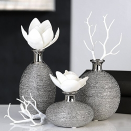 Vase Miro Keramik silber Oberflächenstruktur matt/glänzend silbernem Vasenhals, Deko, Blumen (Dick hoch (rechts)) -