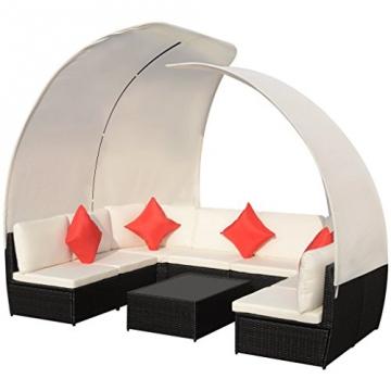 vidaXL 32-tlg. Poly Rattan Sitzgruppe Sitzgarnitur Lounge Set Sofa Gartenmöbel mit Dach -