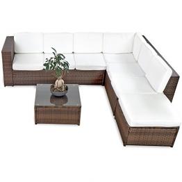 XINRO 19tlg XXXL Polyrattan Gartenmöbel Lounge Sofa günstig - Lounge Möbel Lounge Set Polyrattan Rattan Garnitur Sitzgruppe - In/Outdoor - handgeflochten - mit Kissen - braun -