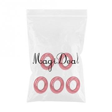 MagiDeal 5er Set 22KN / 4950lb Belastbarkeit Aluminium-Ring, Seil Ringe, Rundkarabiner Für Abseilen Klettern Baumsteigen Bergsteigen Rettungen - Rot, Klein -