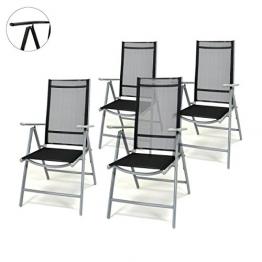 4er Set Klappstuhl schwarz 7-fach-verstellbar Gartenstuhl Aluminium mit Armlehne Hochlehner witterungsbeständig Balkonstuhl leicht stabil Rahmenfarbe wählbar (Silber) - 1