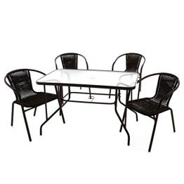 5-teiliges Gartenmöbel-Set – Gartengarnitur Sitzgruppe Sitzgarnitur aus Bistrostühlen & Esstisch – Stahl Kunststoff Glas – braun dunkelbraun - 1