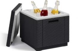 Allibert 212159 Kühlbox/Beistelltisch Ice Cube, Rattanoptik, Kunststoff, anthrazit - 1
