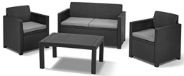 Allibert Lounge Set in Rattanoptik, Merano (2 Sessel, 1 Sofa, 1 Tisch), stabiles Kunststoff , grafit - 1