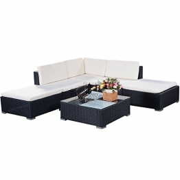 COSTWAY Poly Rattan Rattanmöbel Gartenmöbel Lounge Set Gartenlounge Gartengarnitur Gartenset Sitzgruppe Sitzgarnitur Sofa schwarz - 1