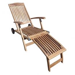 Deckchair 2945 ergo mit Rädern 148x60x97cm Teakholz selected Kernholz unbehandelt zusammengebaut - 1