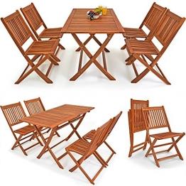 """Deuba® 4+1 Sitzgruppe Sydney """"Light""""   4 Klappstühle   klappbarer Tisch   Akazienhartholz   Sitzgarnitur Garten Garnitur Essgruppe Gartenmöbel Set - 1"""