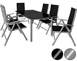 Deuba® Aluminium Sitzgruppe 6+1 Silber   6 verstellbare Stühle   Tisch höhenverstellbar   5mm Tischplatte aus Sicherheitsglas   wetterfest Drinnen & Draußen [ Modellauswahl 4+1 / 6+1 / 8+1 ] - Alu Sitzgarnitur Gartenmöbel Gartenset Essgruppe Gartengarnitur Klappstuhl Gartenmöbelset - 1