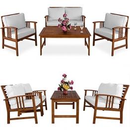Deuba® Lounge Sitzgruppe Atlas   9,5cm dicke Auflagen   20cm dicke Rückenkissen   Farbe Creme   2 Sessel + 1 Bank & 1 Tisch aus Akazienholz [ Farbauswahl ] - Gartengarnitur Gartenmöbel Sitzgarnitur Garten Holz Lounge Set - 1